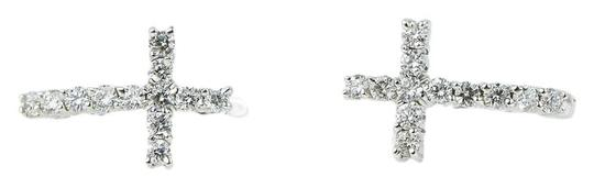 Diamond White Gold Earrings Cross 14k