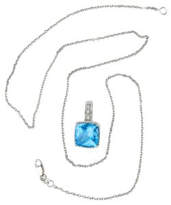 Prima Blue Gem Stone and Diamonds 14K White Gold Necklace.