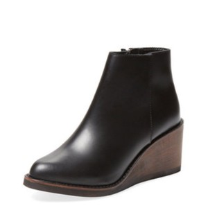 F-Troupe black leather with brown wedge Boots
