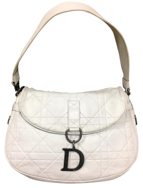Item - Cannage Quilted White Lambskin Leather Shoulder Bag