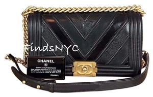 Chanel Mixed Leather Caviar Chevron Boy Shoulder Bag