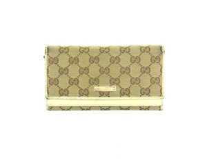 Gucci Vintage GG Logo Canvas Leather Clutch Long Wallet Italy