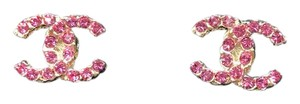 Chanel New in Box with Pouch and Tag CHANEL CC Pink Crystal Earrings Studs