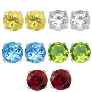 9.2.5 Set of 5 gemstone stud earrings garnet Topaz peridot