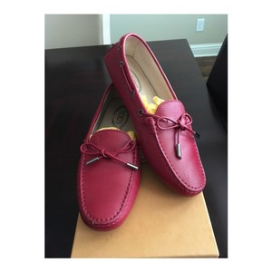 Tod's Arch Support Heel Protection Made In Italy Leather Tie Red Flats