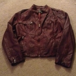Guess burgundy Leather Jacket