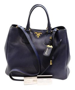 747526367395 Prada Vitello Daino Shopping Bn2423 Blue Leather Tote - Tradesy
