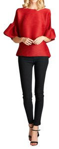 Nabisplace Pleats Red Ruffle Sleeve Tunic