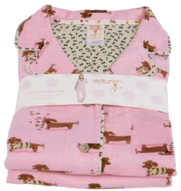 Item - New S Perfect Flannel Pajama Set Pink Weiner Dog Tee Shirt Size 6 (S)