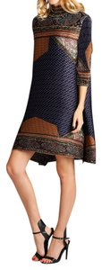 Nabisplace short dress Brown Pleats Printed Tunic on Tradesy
