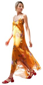 Yellow Maxi Dress by Urban Outfitters Floral Flowy Festival Boho Bohemian