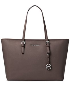 Michael Kors Leather Laptop Multifunction Tablet Tote in Gray Taupe