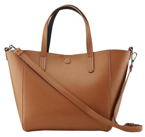 Basic Editions Reversible Beach Faux Leather Large Purse Tote in Brown/Black