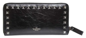 Valentino New Valentino Rockstud Black on Black Leather Continental Wallet