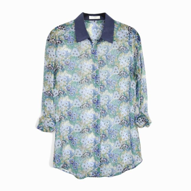 Equipment Sheer Floral Button Front Long Sleeve Top Blue
