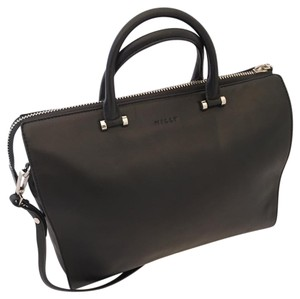 MILLY Silver Hardware Leather Tote in Black
