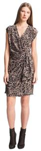 Rachel Zoe Draped Animal Print Silk Wrap Print Dress
