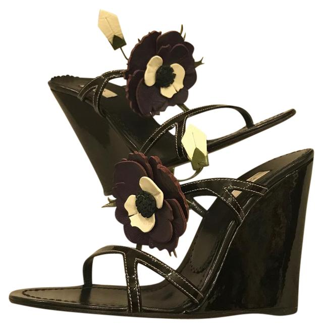 Item - Black Patent Wedge Sandals Formal Shoes Size US 8 Regular (M, B)