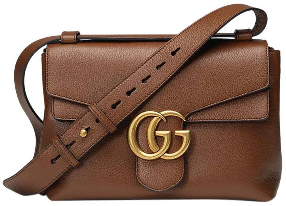 Gucci Marmont New Gg Shoulder Large Brown Leather Messenger Bag ... 2575a67eb8841