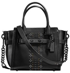 Coach Satchel in Dark Gunmetal/Black