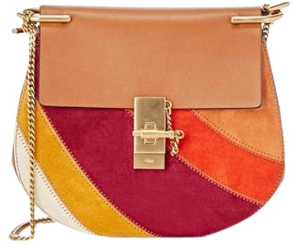 65f8857019a Chloé Drew New Small Chain Multicolored Patch Brown Orange Purple Yellow  Multi Leather & Suede Shoulder Bag