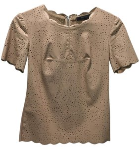 BCBGMAXAZRIA Faux Leather Fitted Nude Fall Top Nude/Tan