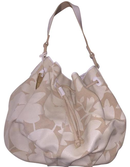 Item - White & Cream Leather and Fabric Tote