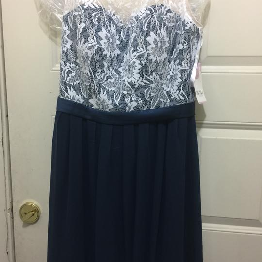 DaVinci Ivory/Navy Midnight Formal Bridesmaid/Mob Dress Size 10 (M)