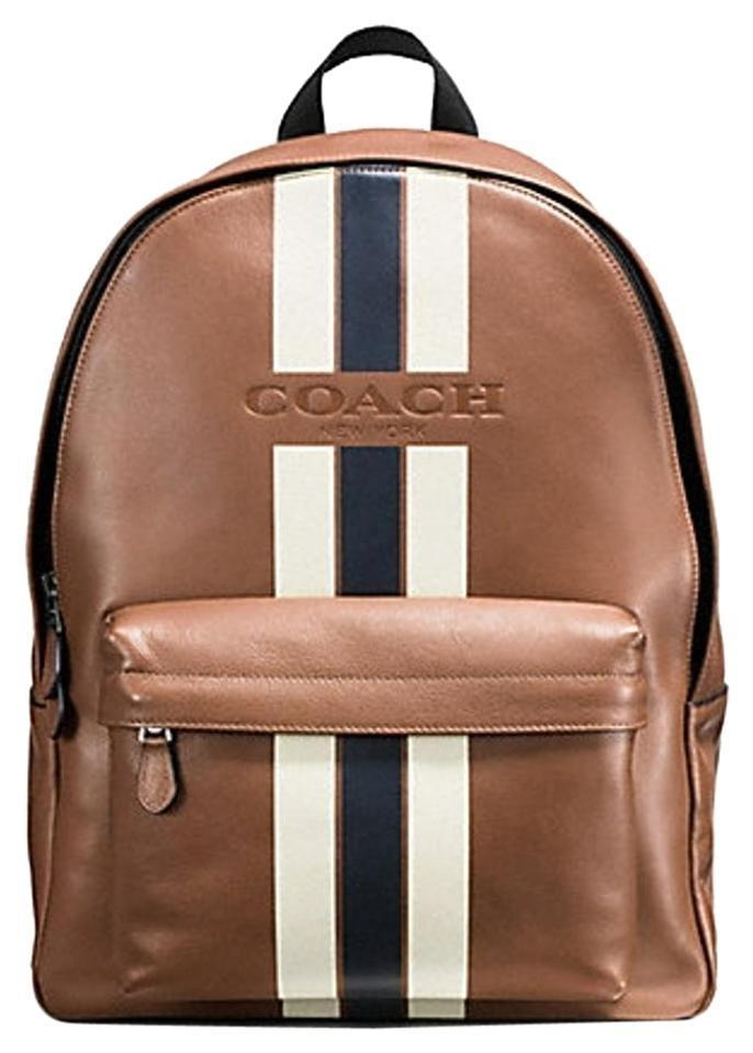 7bc8077f79da Coach Campus Varsity F71973 Brown Blue White Leather Backpack - Tradesy
