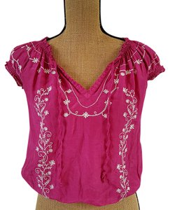 Banana Republic Silk Boho Embroidered Peasant Top Pink, white
