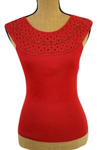 Ann Taylor Silk Crochet Nwot Bodycon Top Red