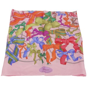 Gucci GUCCI 352212 Pink Silk Twill Scarf Multicolored Bow Tie and Pearls Ban