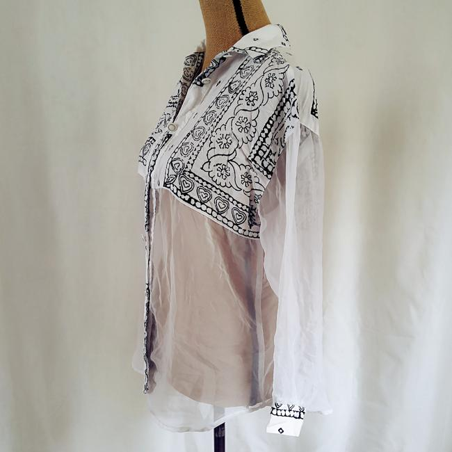 Judy Knapp California Sheet See Through Over Sized Tie Dye Top Black, white