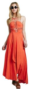 Orange Maxi Dress by Free People Handkerchief Asymmetrical Strappy Boho