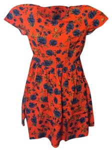 Old Navy short dress orange with floral print on Tradesy