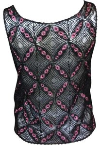 Dior Lace Beaded Camisole Pink Top Black