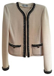 St. John St. John Collection White Santana Knit Collarless Zip Jacket Hs156