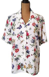 Bon Worth Butterfly Floral Bumblebee Nwot Top White