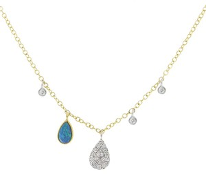 Meira T Meira T Australian Opal Necklace W/ Off-Centered Charms & Bezels