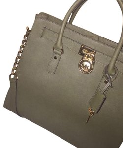 Michael Kors Leather Gold Hardware Tote in Olive