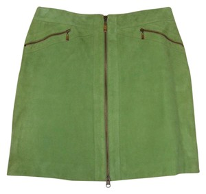 Michael Kors Suede Straight Zippers Mini Skirt Avocado Green