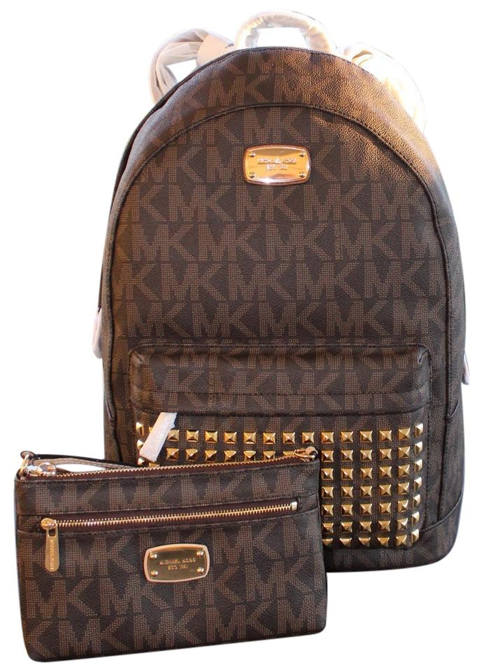Michael Kors 2 Pcs Jet Set Large Studded Wristlet Clutch Set. Signature  Brown Pvc Canvas Backpack 74389984f2709
