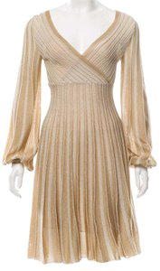 Missoni short dress Beige, Gold Knit Striped Chevron V-neck Longsleeve on Tradesy