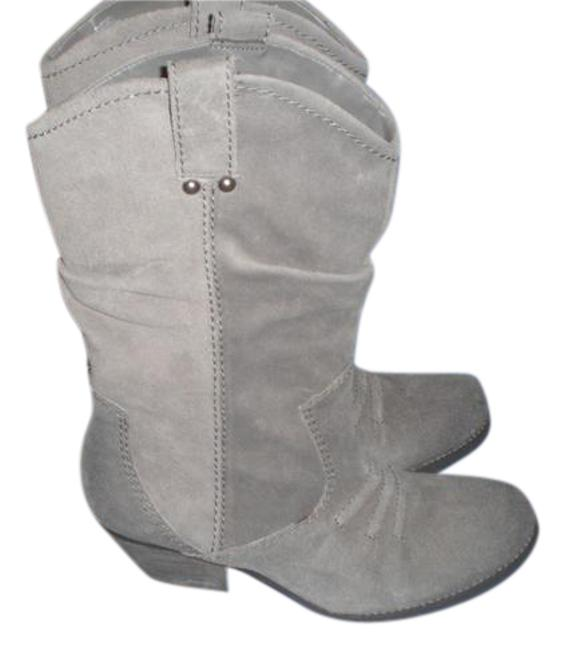Item - Gray Bcbg-generation-mid-calf-leather-boots-with-studs-taupe-size-8-5-m Boots/Booties Size US 8.5 Regular (M, B)