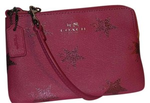 Coach New Leather Wristlet in cranberry