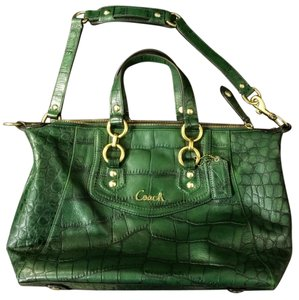 Coach Crocodile Leather Satchel in Green