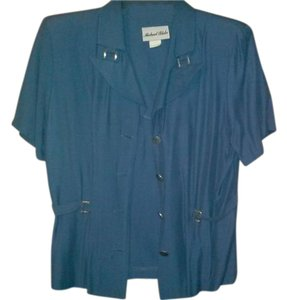 76e50566fed Michael Blake Navy Blue Short Sleeve Blazer