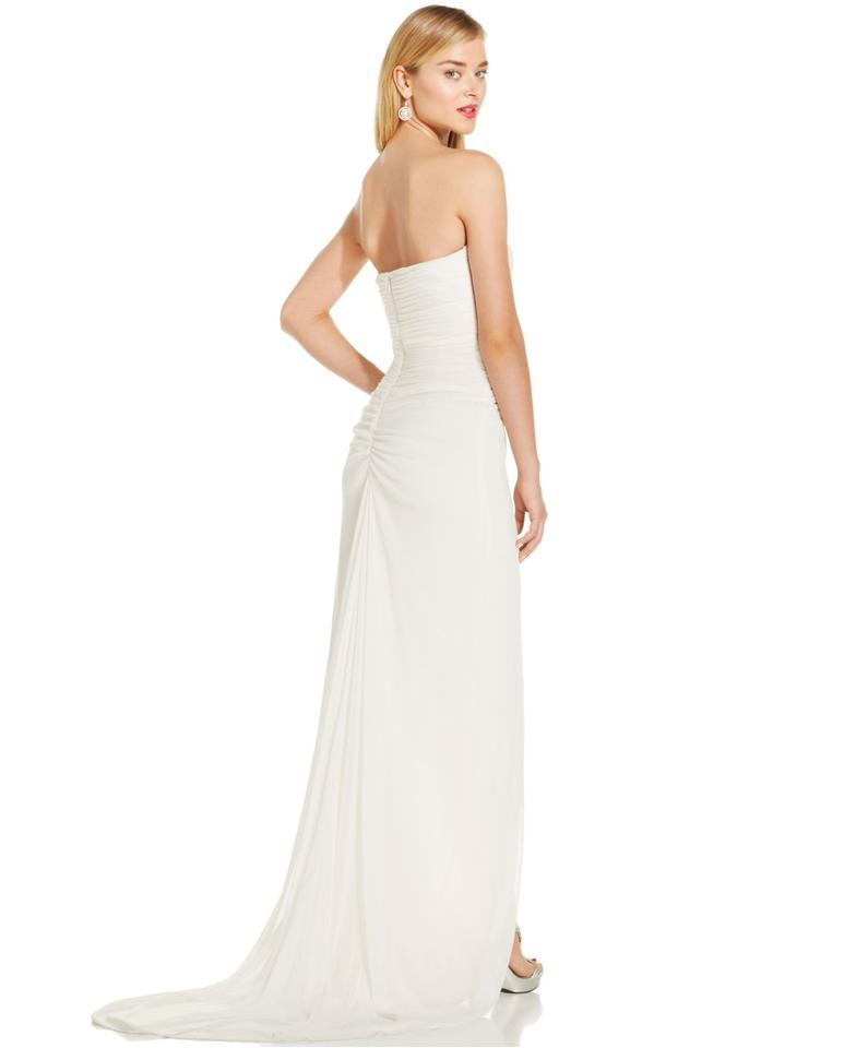 Adrianna Papell Ivory Jewel-embellished Strapless Gown