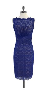 Tadashi Shoji short dress Blue Lace Sleeveless on Tradesy