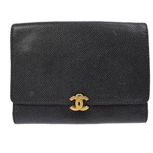 Chanel caviar leather black trifold cc logo wallet